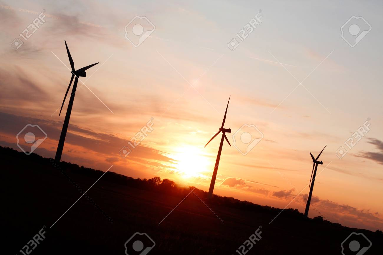 Windmills showing renewable energy in the evening Stock Photo - 5365735