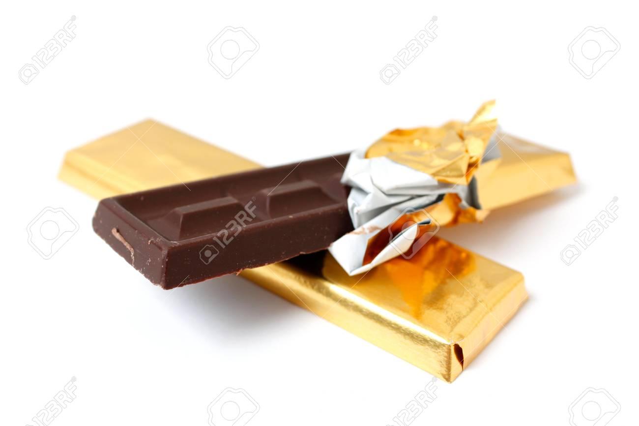 A dark chocolate bar on white Stock Photo - 5564903