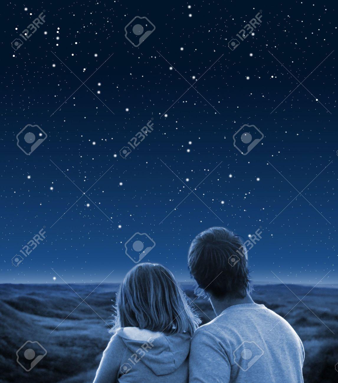 Couple under starry sky Stock Photo - 8534016