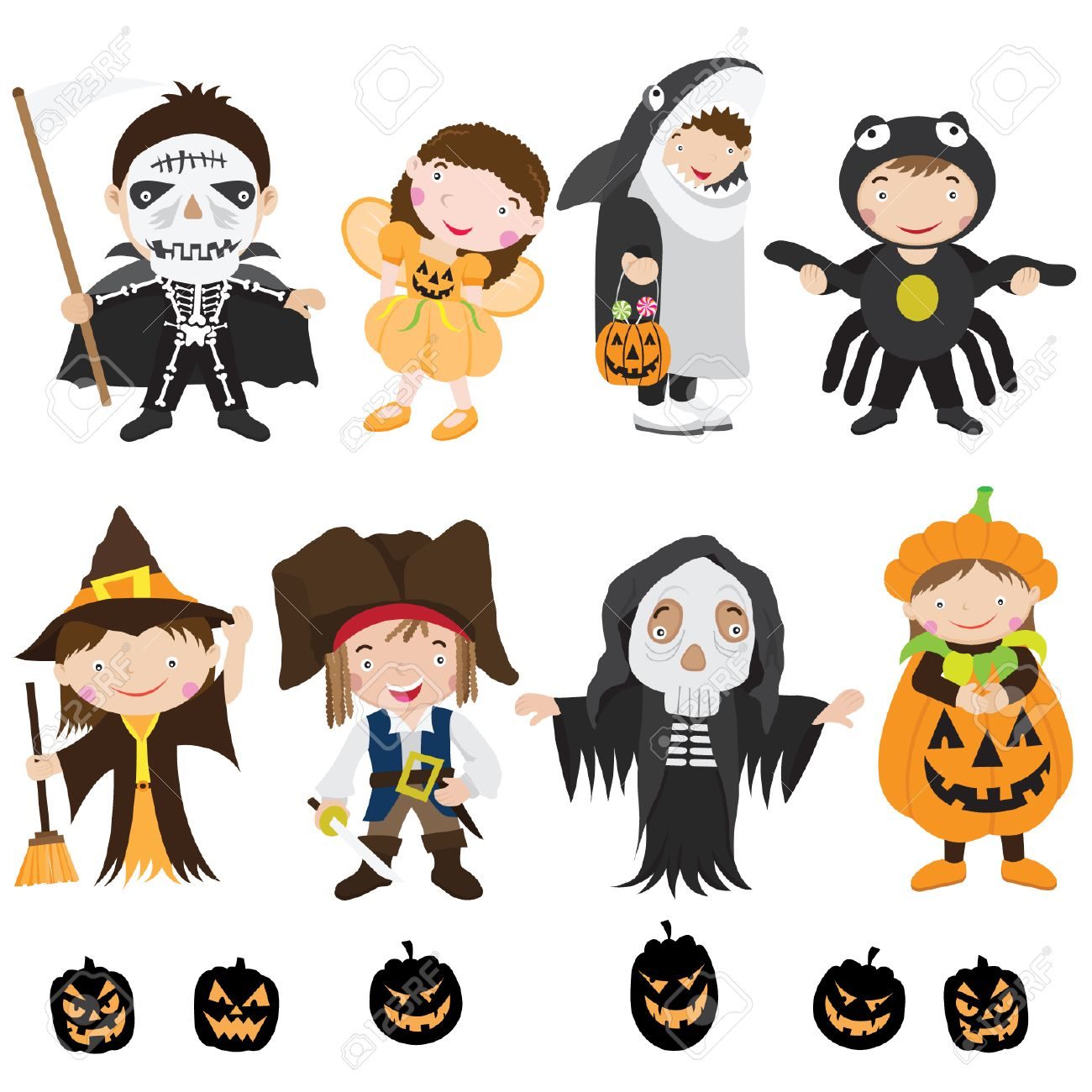 Cute Halloween Characters And Costume Royalty Free Cliparts ...