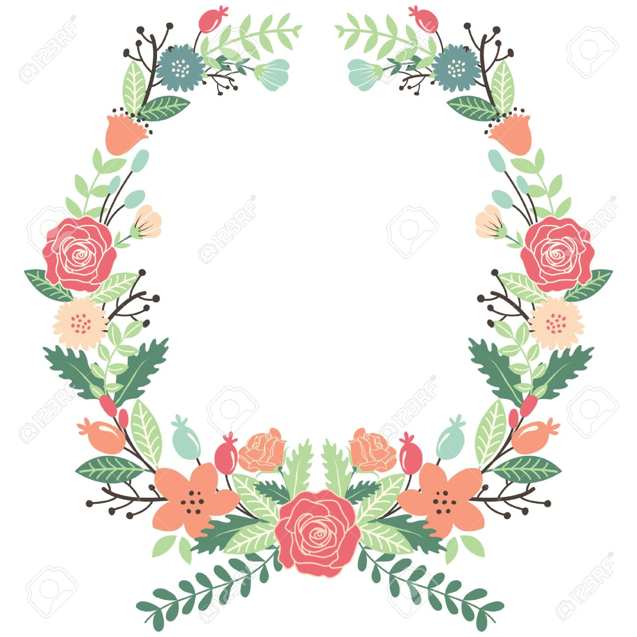 vintage flowers wreath royalty free cliparts vectors and stock rh 123rf com vintage flower clipart transparent background vintage flower clipart black and white