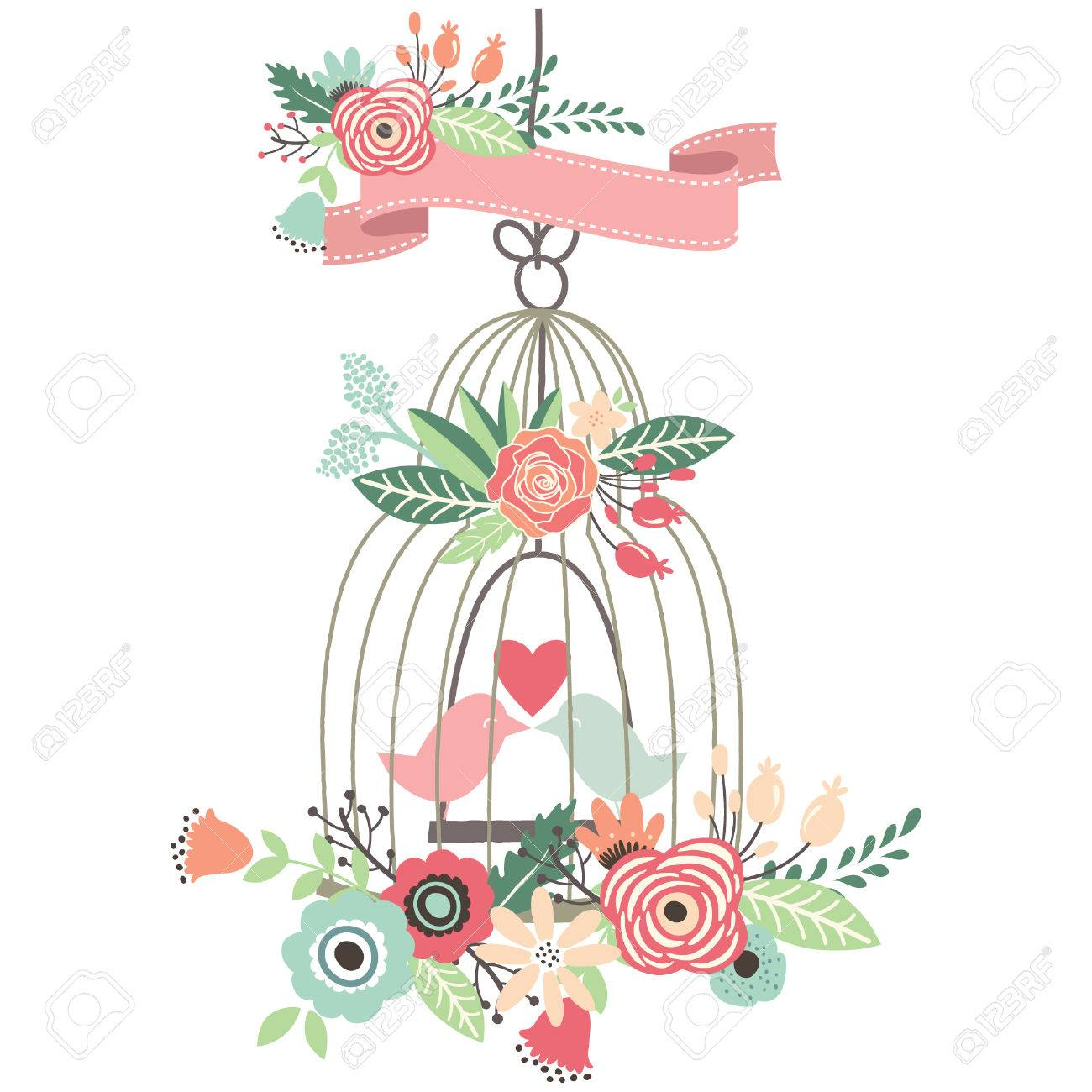 Vintage Wedding Floral Birdcage Royalty Free Cliparts Vectors