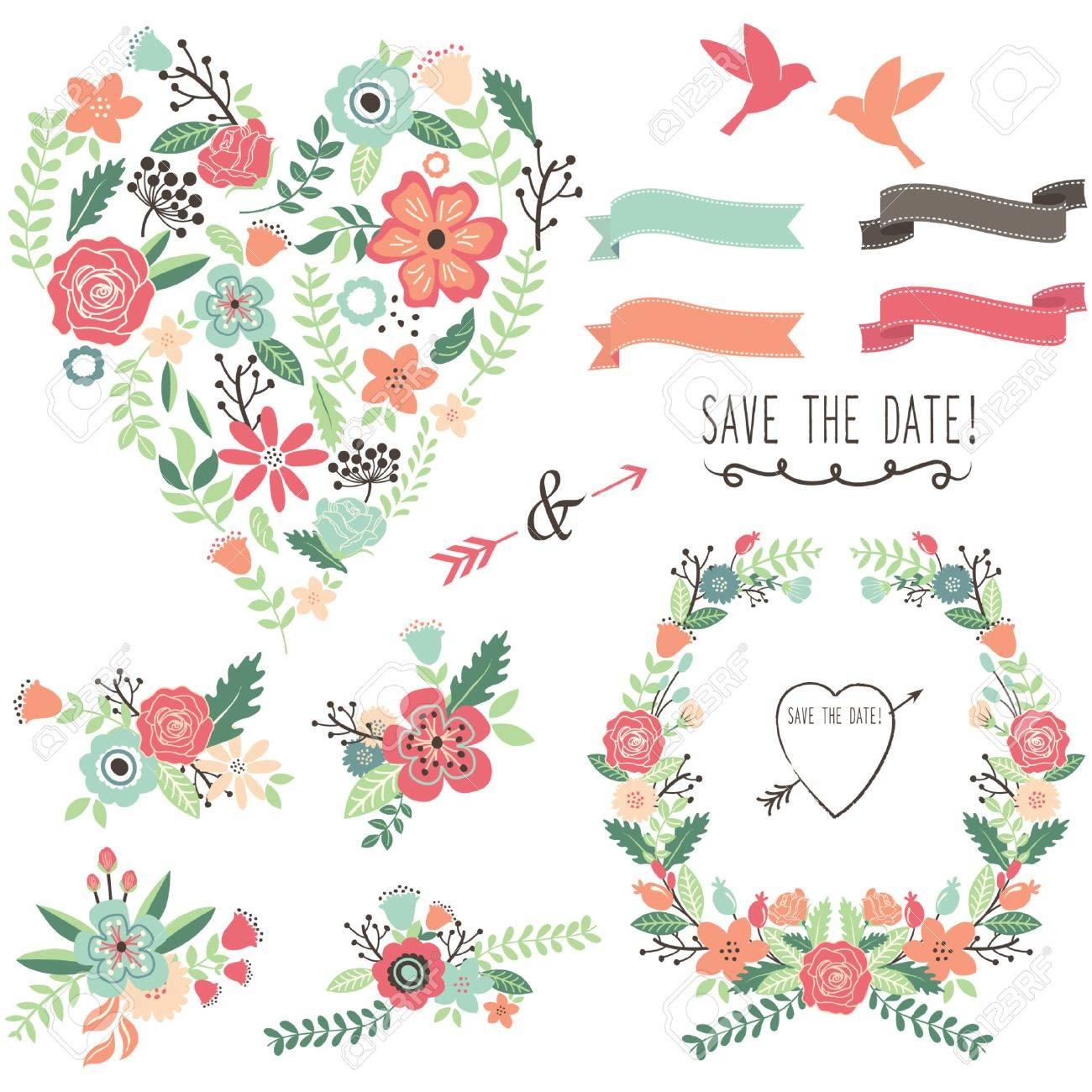 Lements Coeur Fleurs Vintage De Mariage Clip Art Libres De Droits