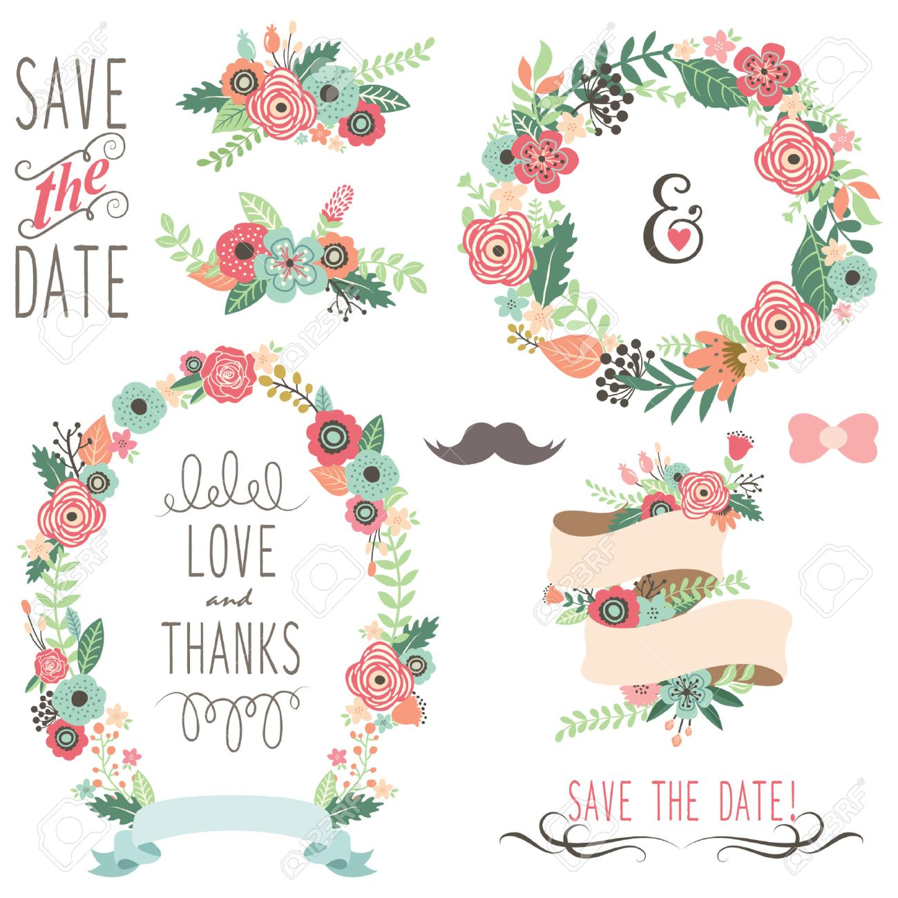 Wedding Vintage Flowers Wreath Stock Vector - 42212073