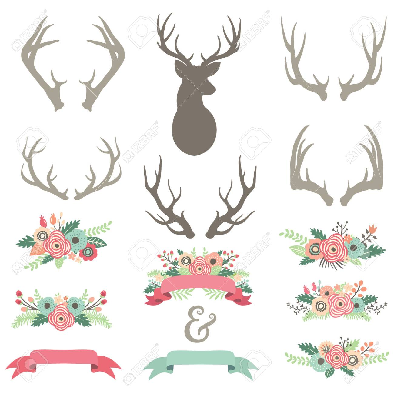 Wedding Flower Antlers Set Royalty Free Cliparts Vectors And