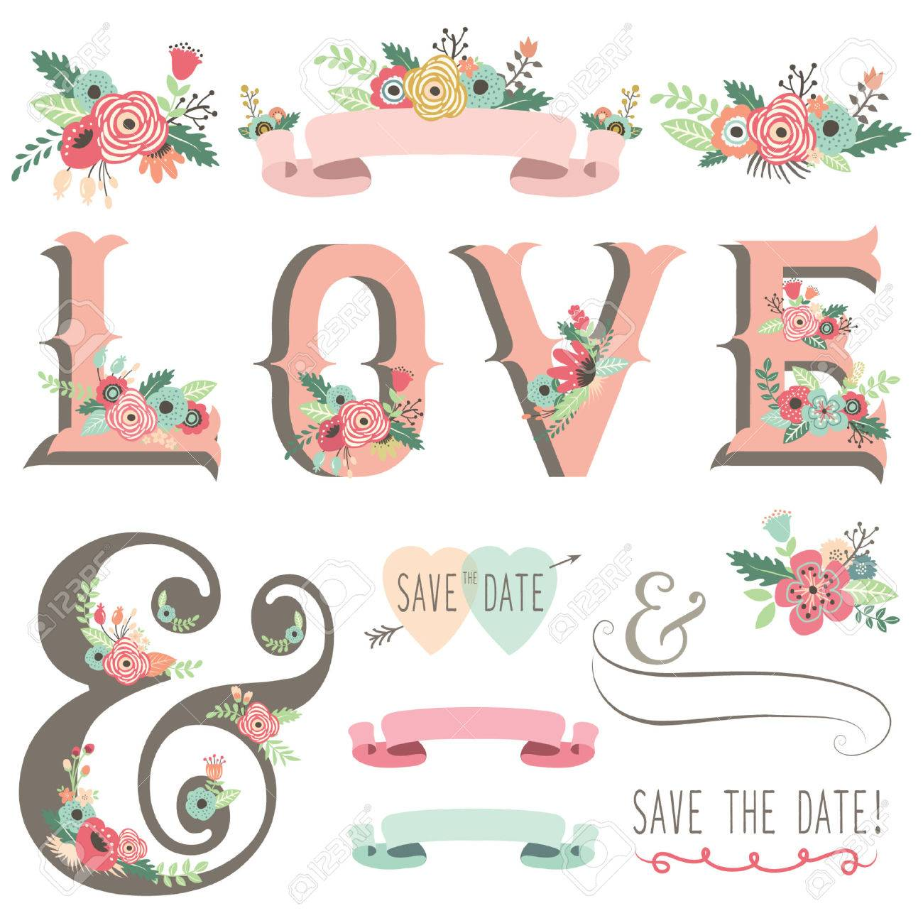 Wedding Flower Love Design Elements Stock Vector - 43624816