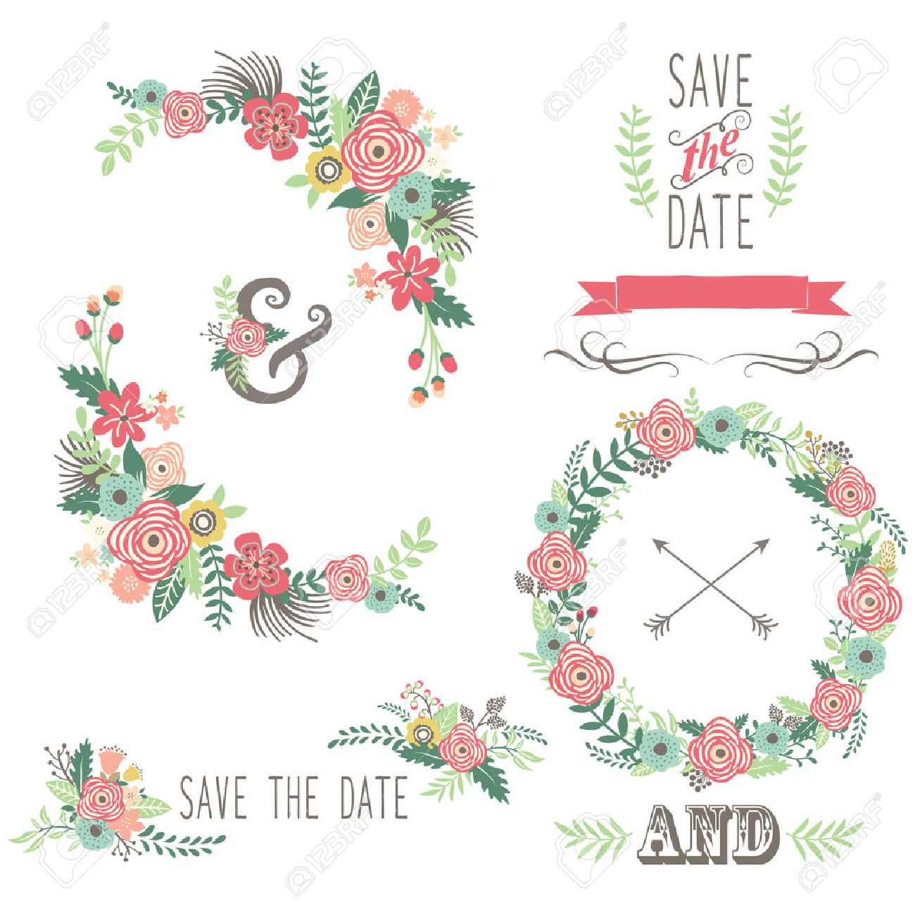Wedding Vintage Floral Elements Royalty Free Cliparts Vectors
