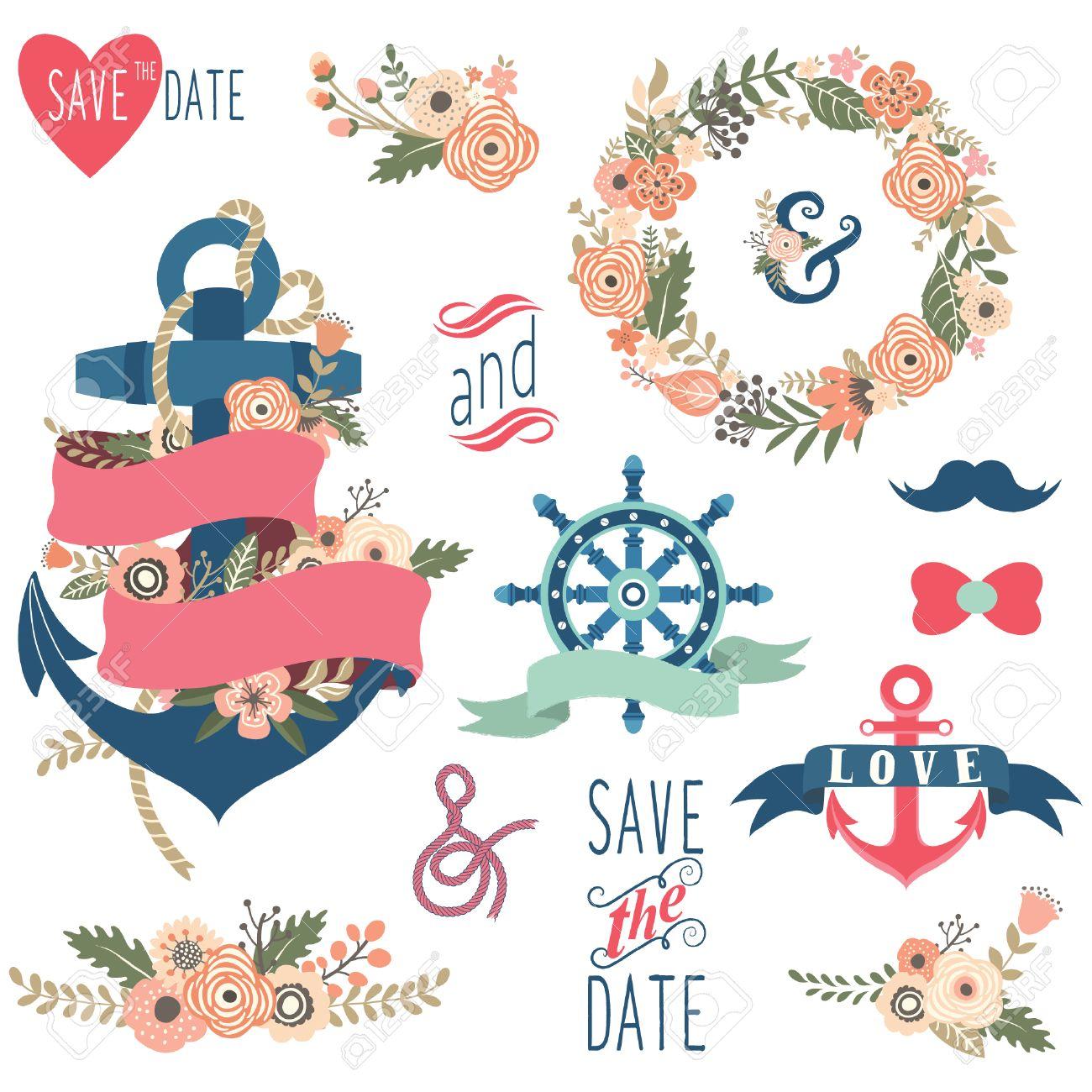 Nautical Floral Wedding Collections Stock Vector