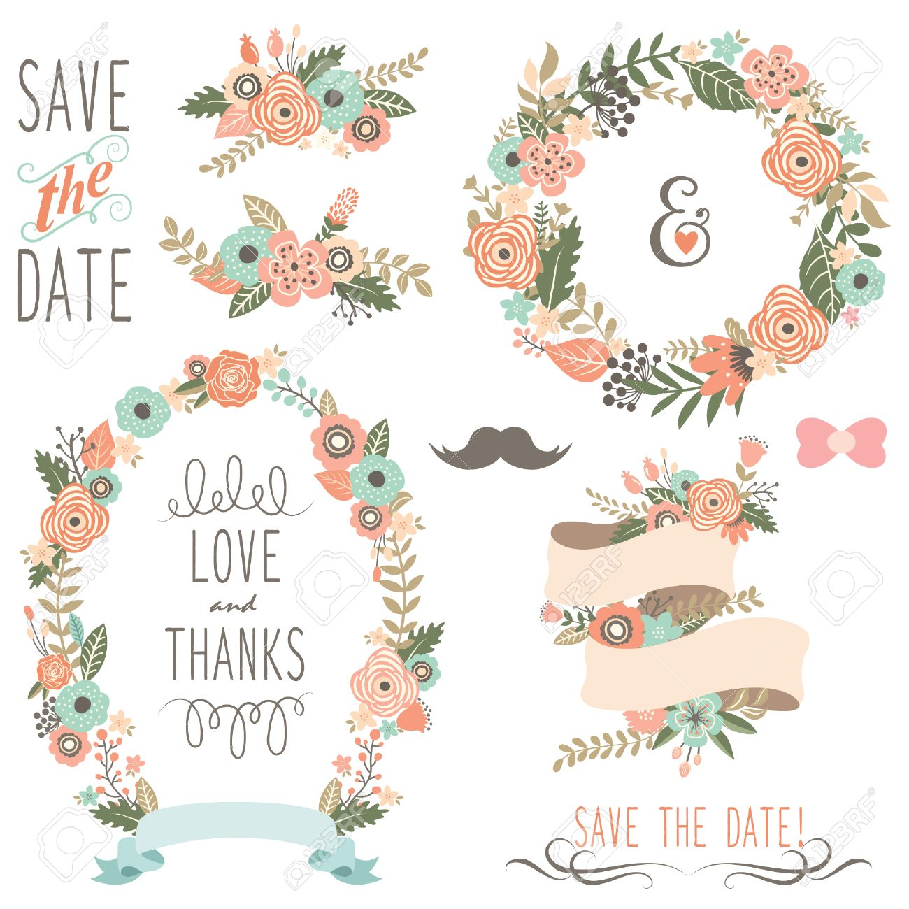 Rustic Wedding Flowers Wreath Stock Vector