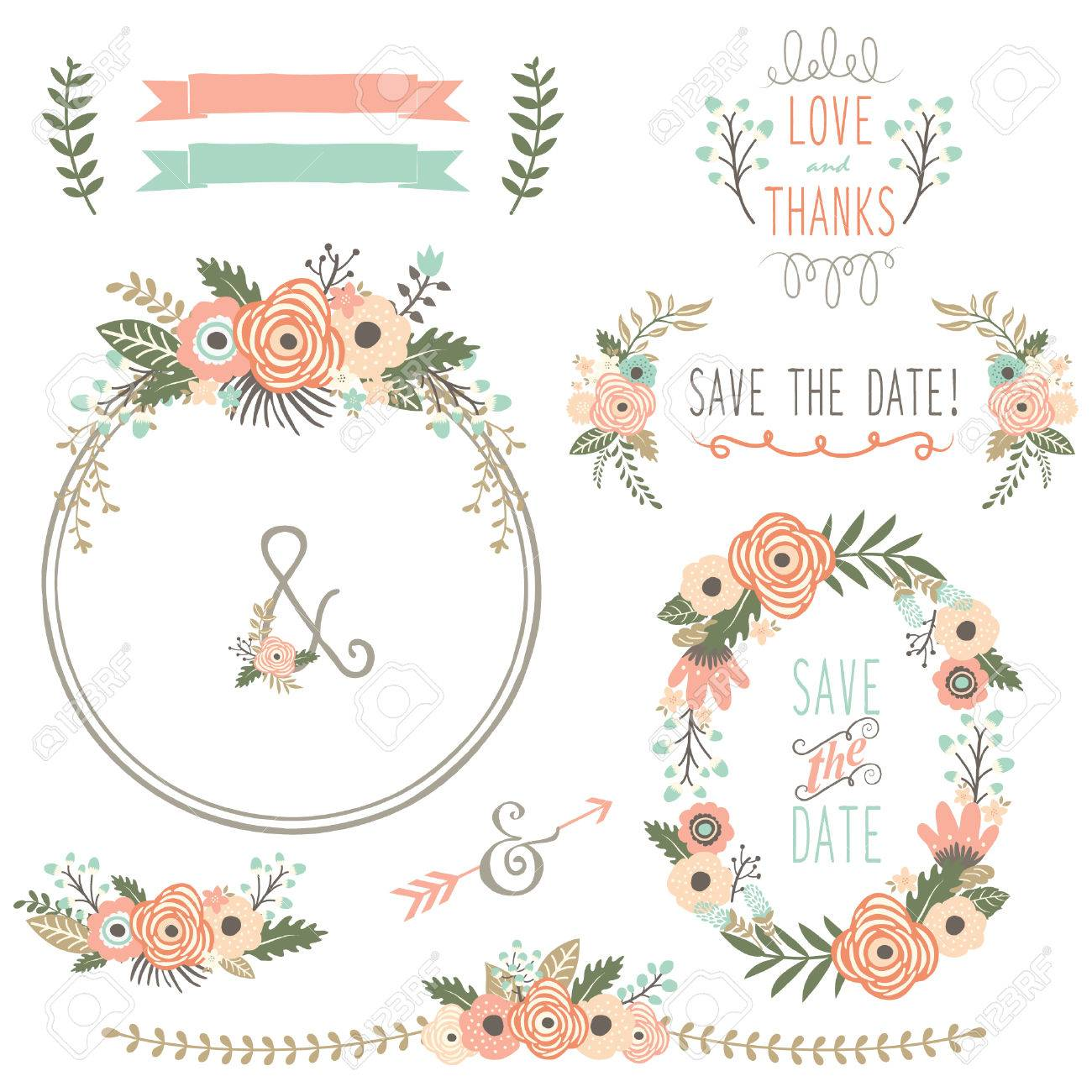 Rustic Wedding Flower Wreath Stock Vector