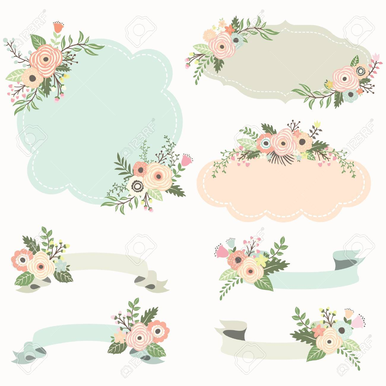 Rustic Floral Frame Elements Royalty Free Cliparts Vectors And