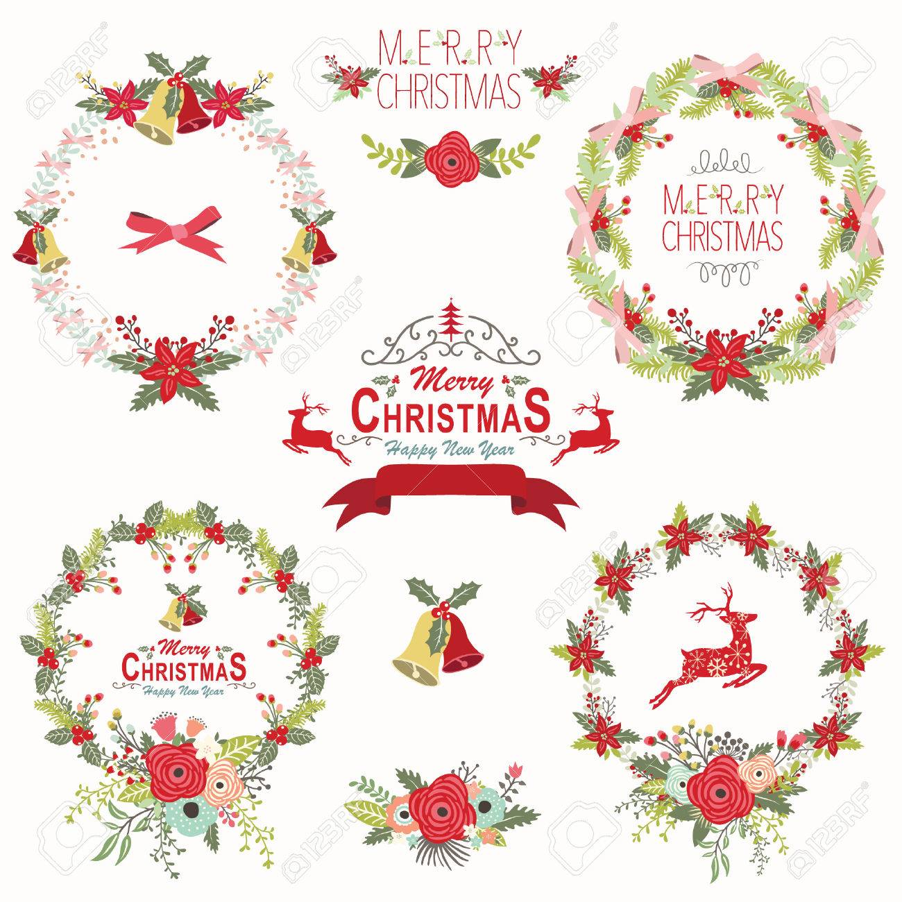 Retro Christmas Wreath Elements Stock Vector