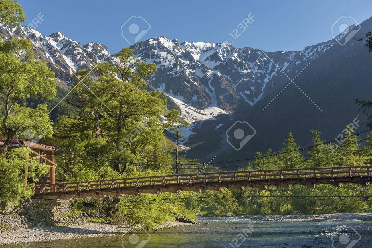 Hotaka mountains and Kappa bridge in Kamikochi, Nagano, Japan - 80230170