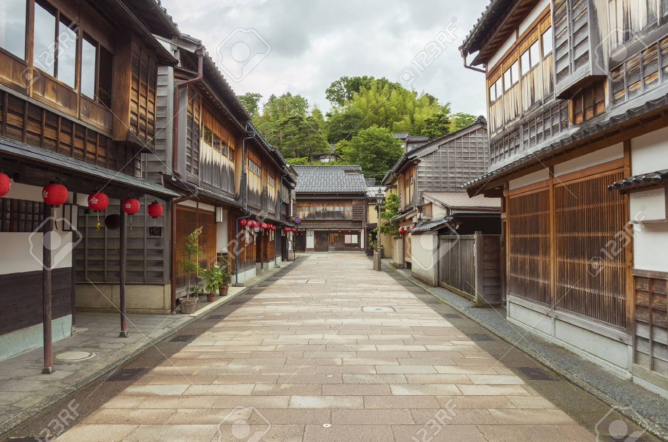 Historical street at Higashichaya district, Kanazawa, Japan - 80740878