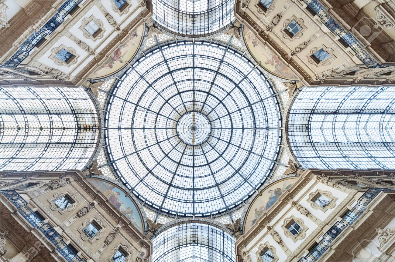 Glass dome of Galleria Vittorio Emanuele in Milan, Italy - 90787918