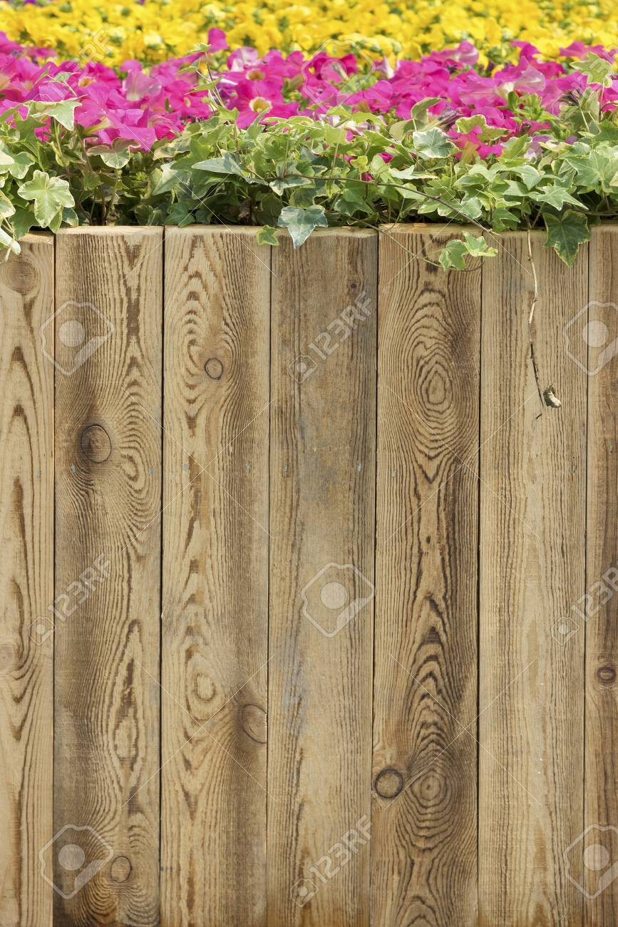 Wooden Fence In Flower Garden Stock Photo Picture And Royalty