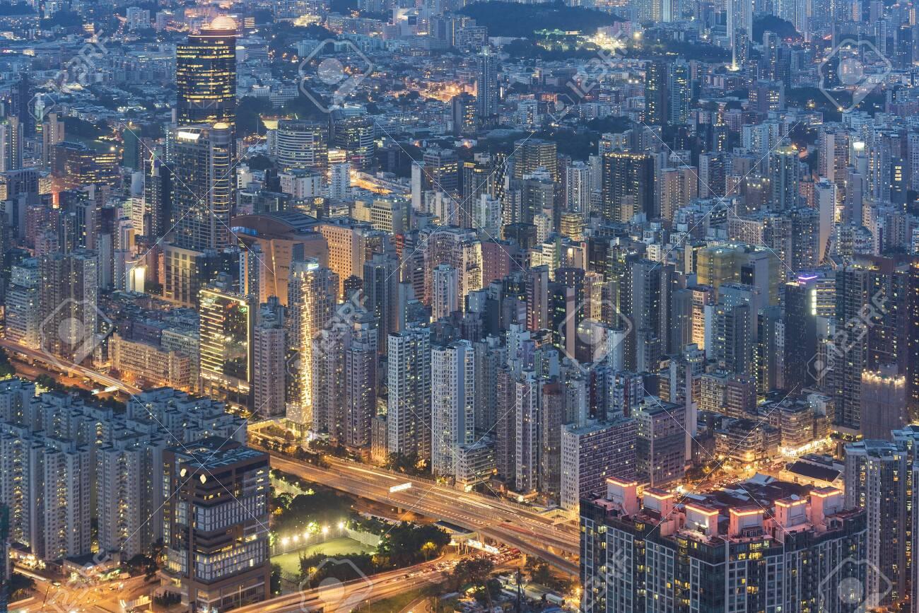 Night scene of aerial view of Hong Kong City - 121829295