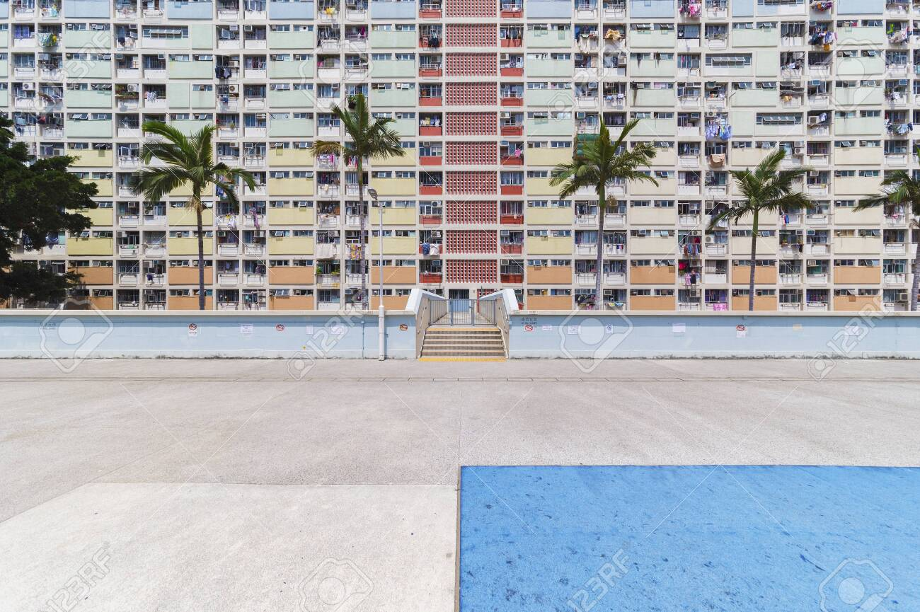 Exterior of high rise residential building in Hong Kong city - 123297319
