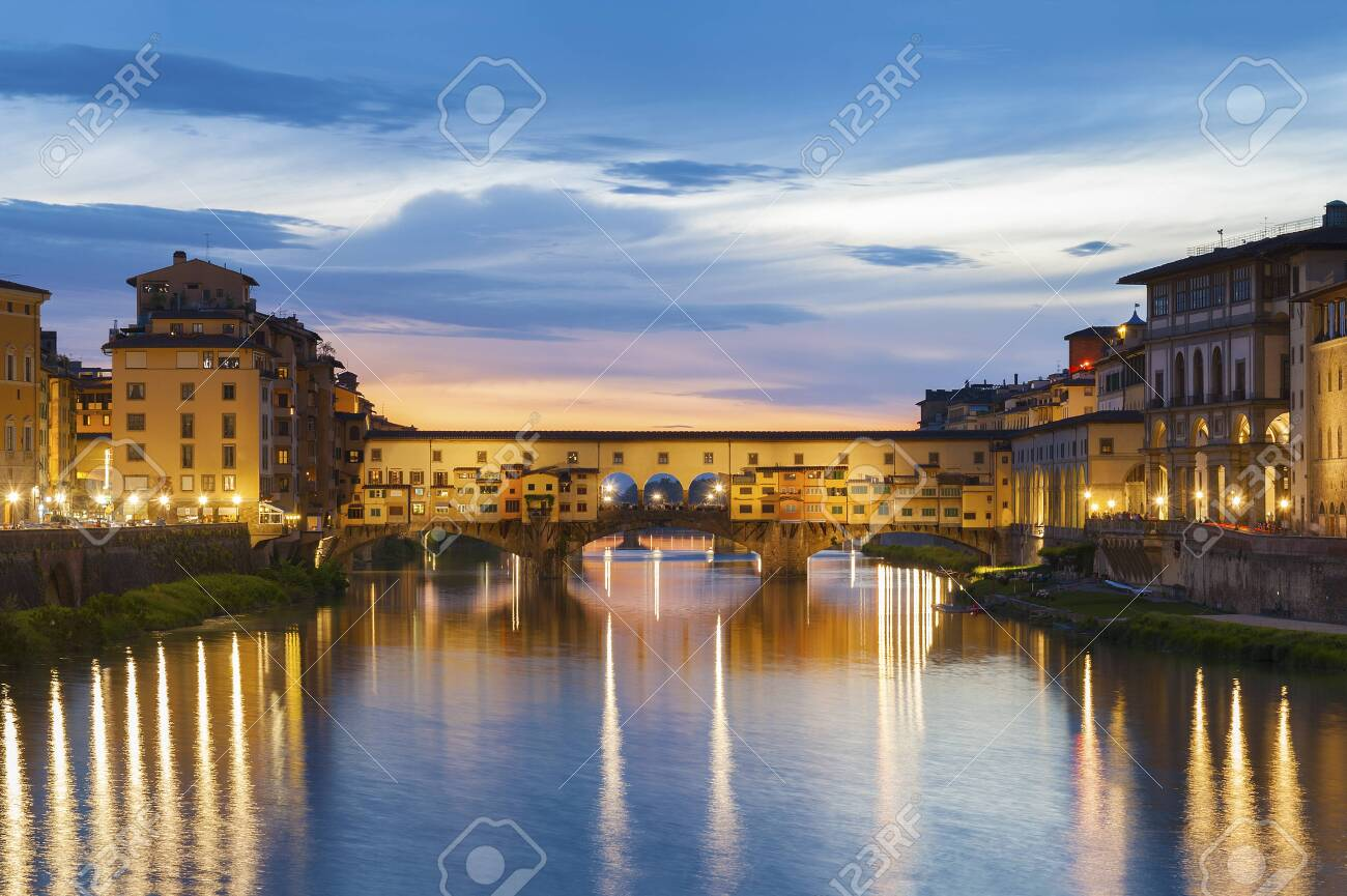 Ponte Vecchio - the bridge-market in the center of Florence, Tuscany, Italy at dusk - 137049857