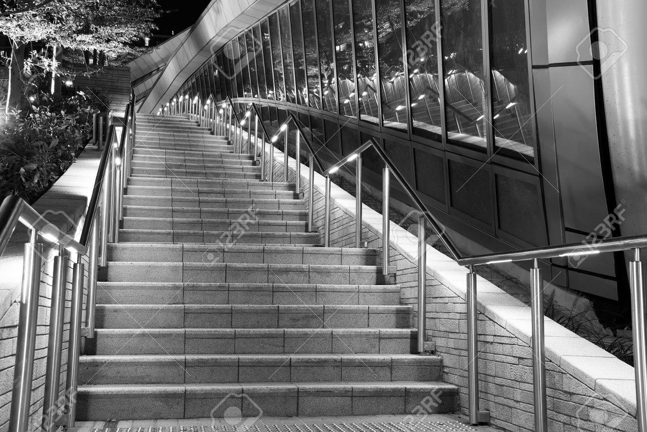 Modern stairway of modern architecture at night - 171283526