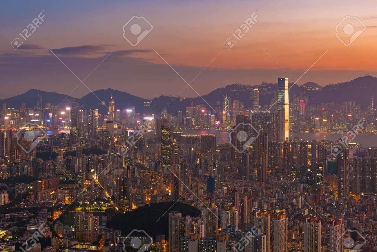 Aerial view of Hong Kong city at dusk - 171283547