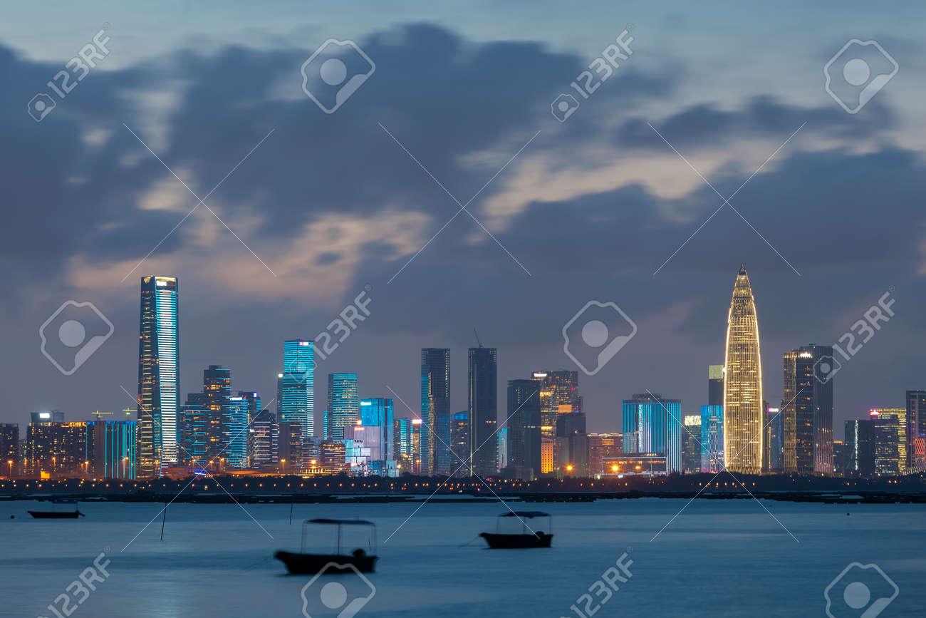 Skyline of Shenzhen city, China at night. Viewed from Hong Kong border Lau Fau Shan - 171283885