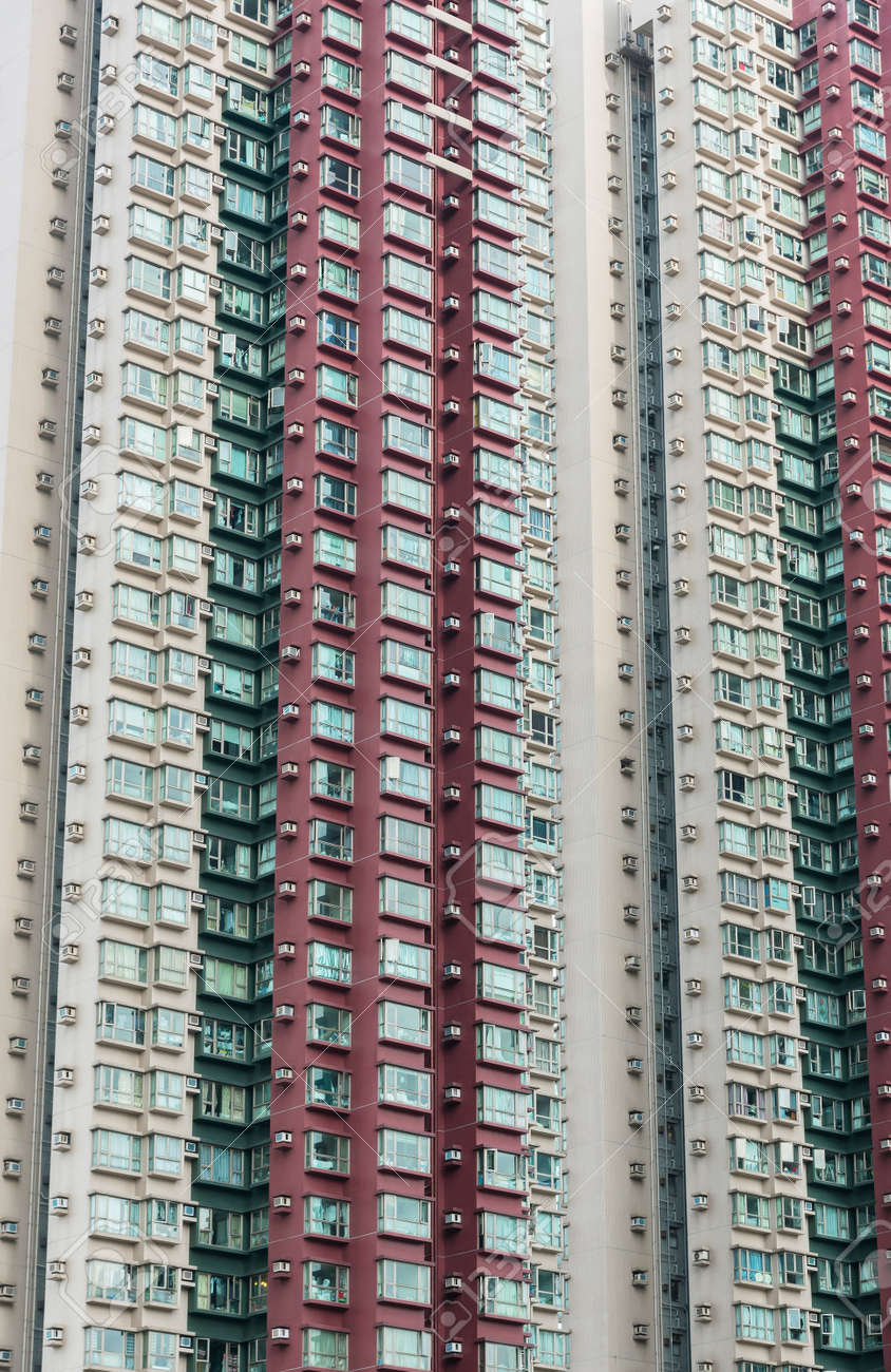 Exterior of high rise residential building in Hong Kong city - 171283963