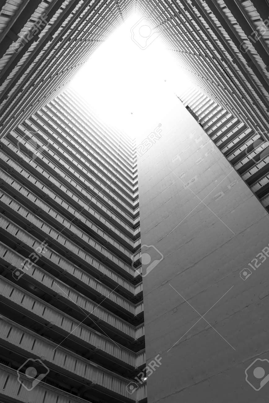 High rise residential building of public estate in Hong Kong city. Building abstract background - 171895603