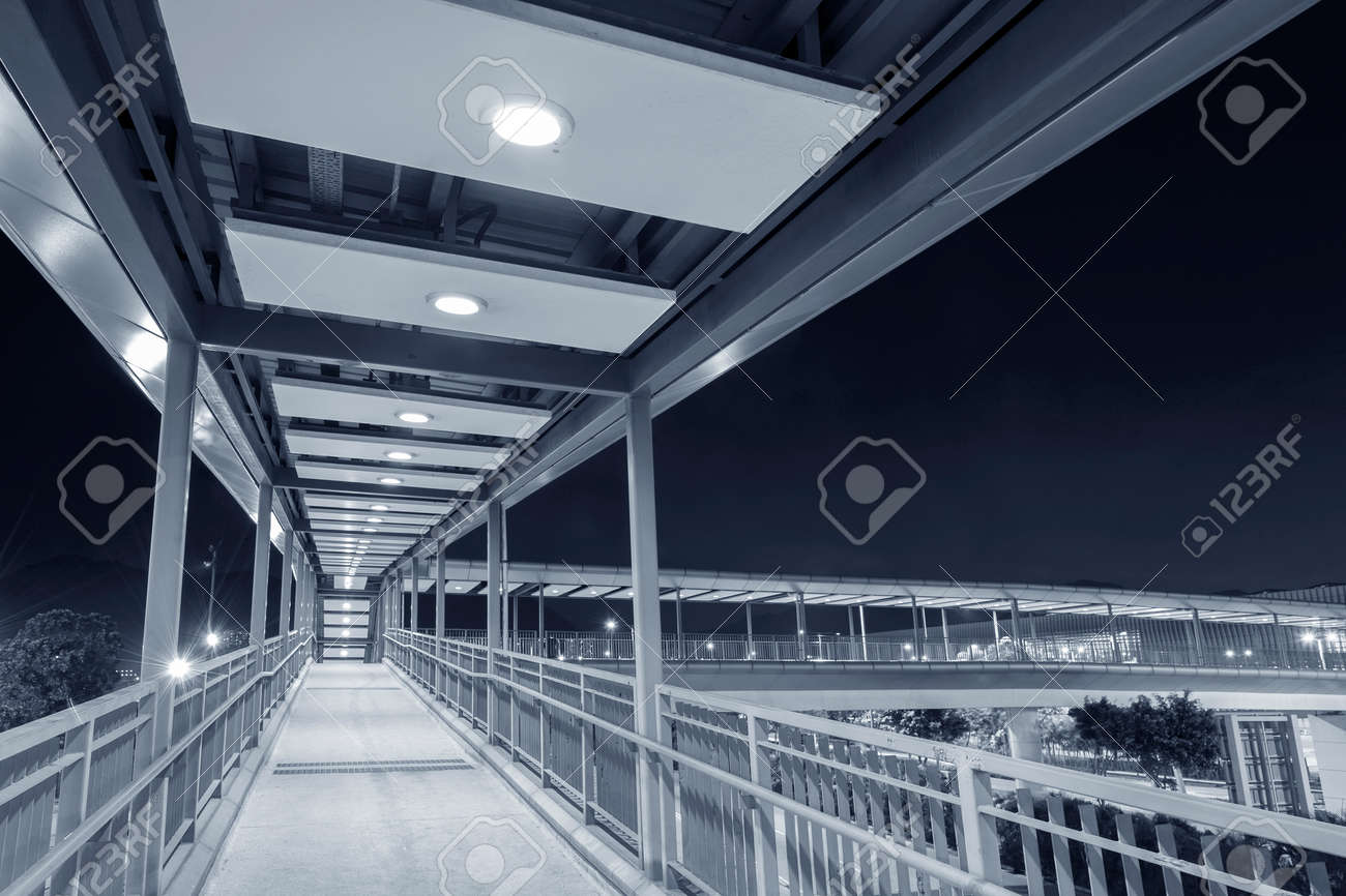 Empty Pedestrian Walkway at night - 171849932