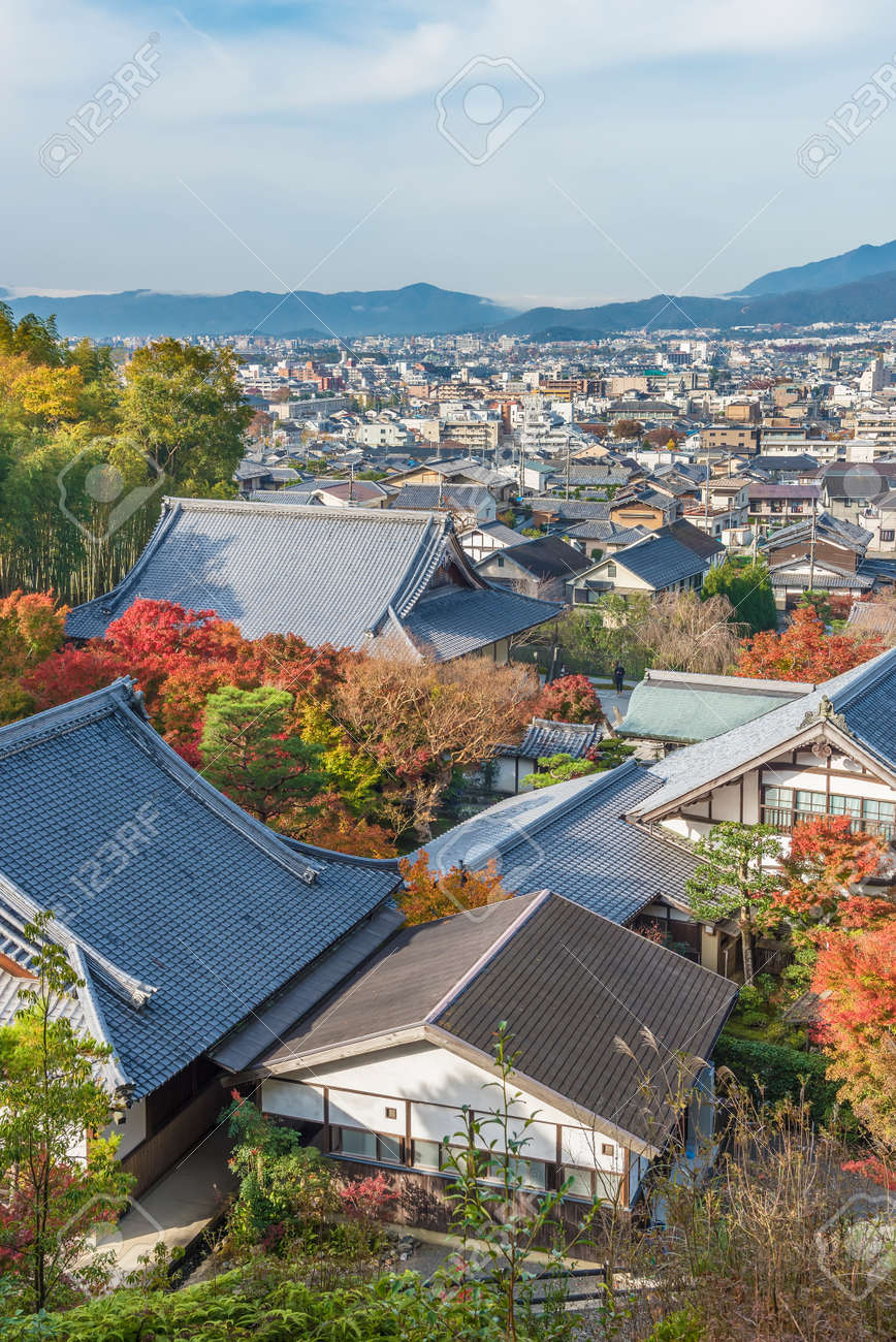 Historical city Kyoto city, Japan in autumn season - 172194607