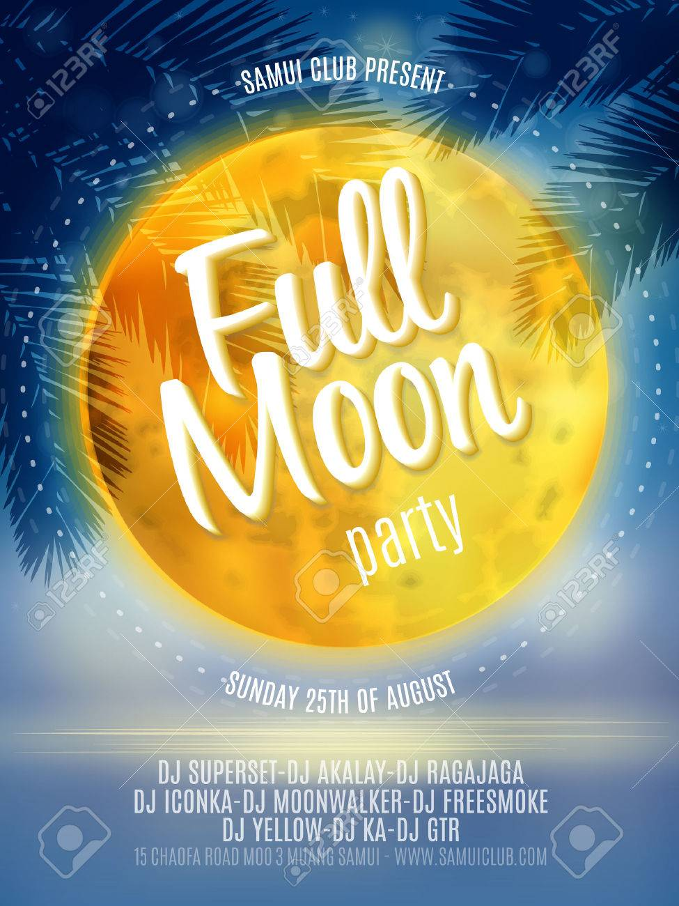full moon beach party flyer vector design royalty free cliparts