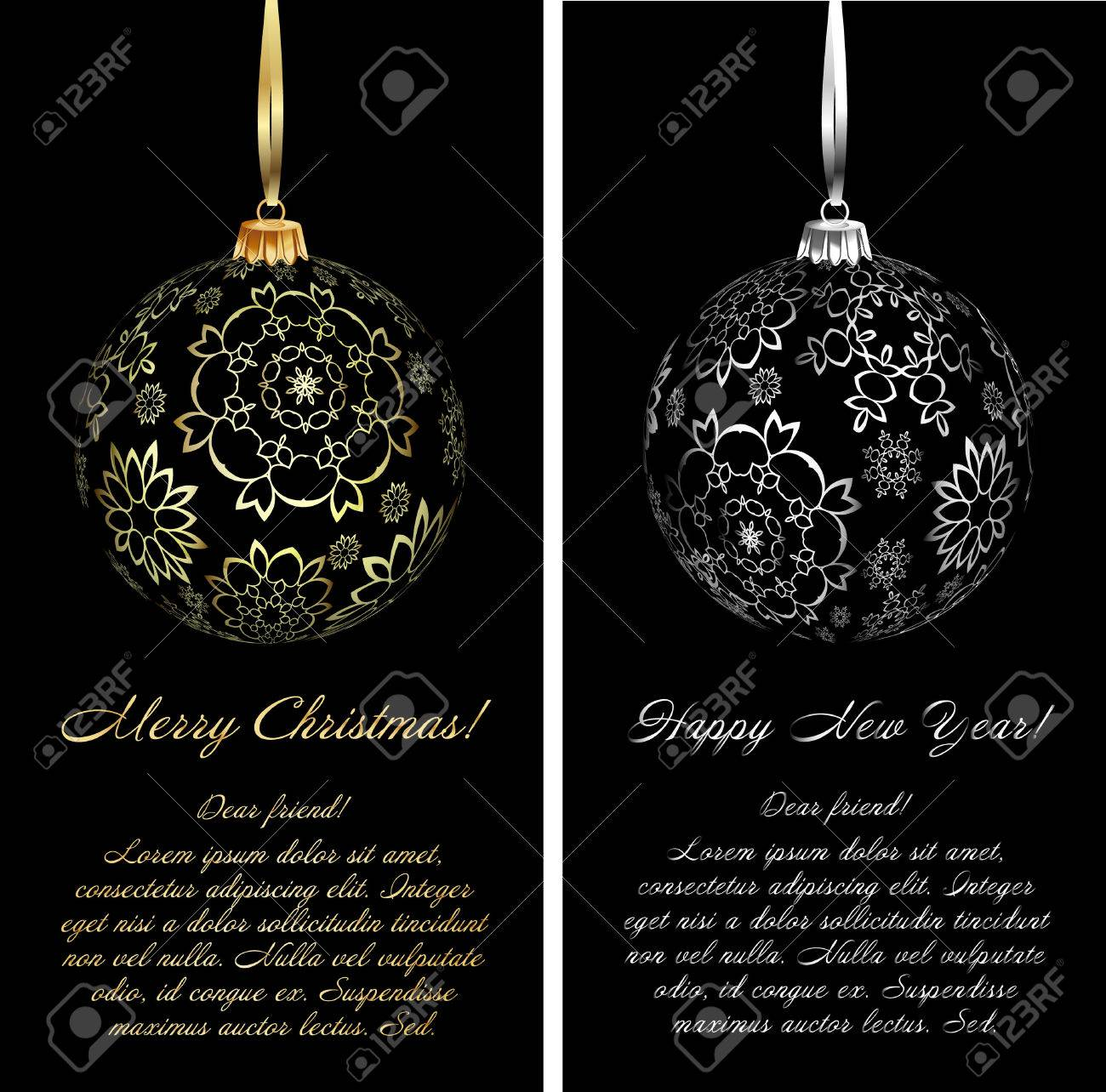 Luxury Christmas Card Background With Ornaments. Vector Illustration ...