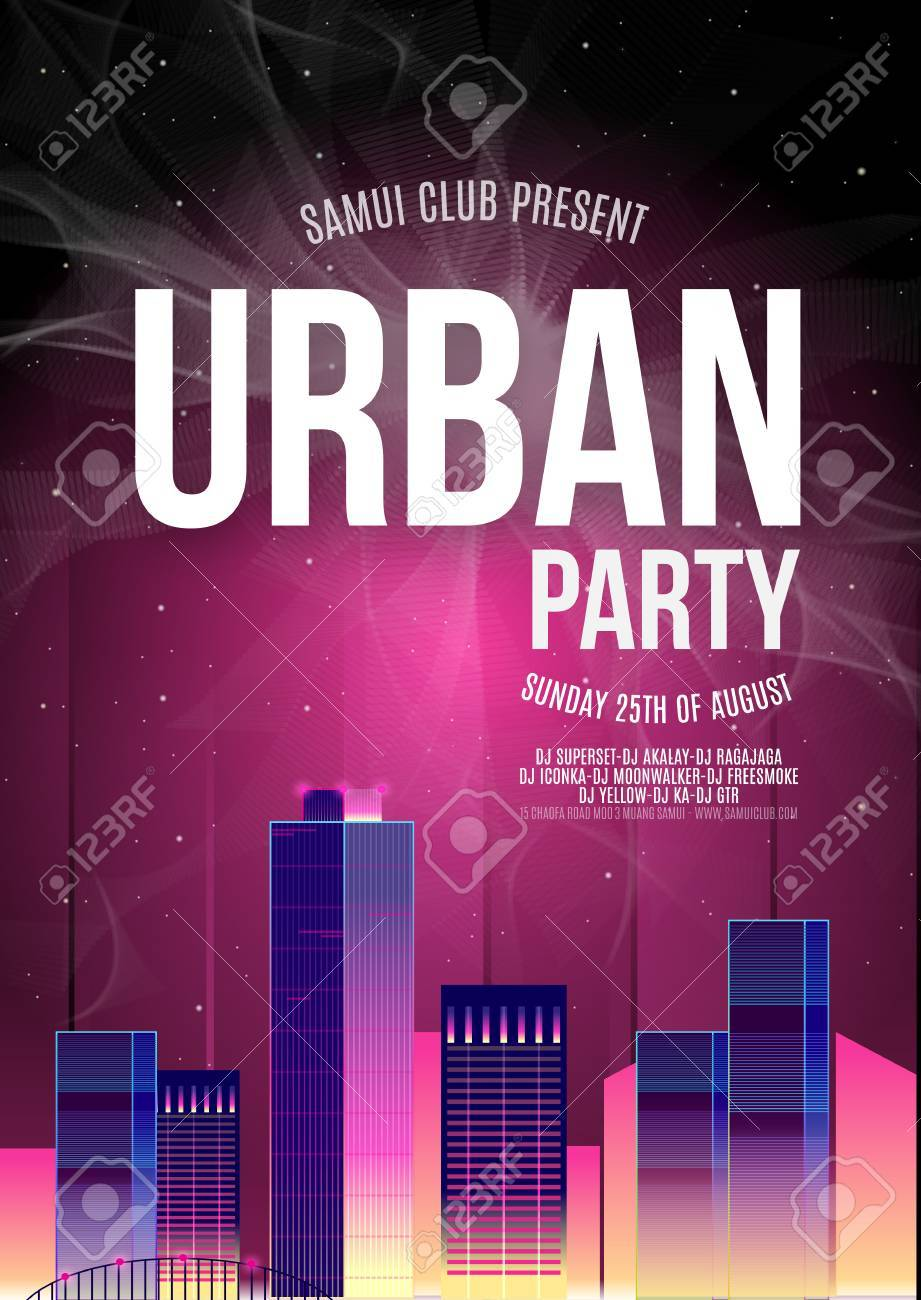Urban Dance Party Plantilla Del Cartel De Fondo - Ilustración ...
