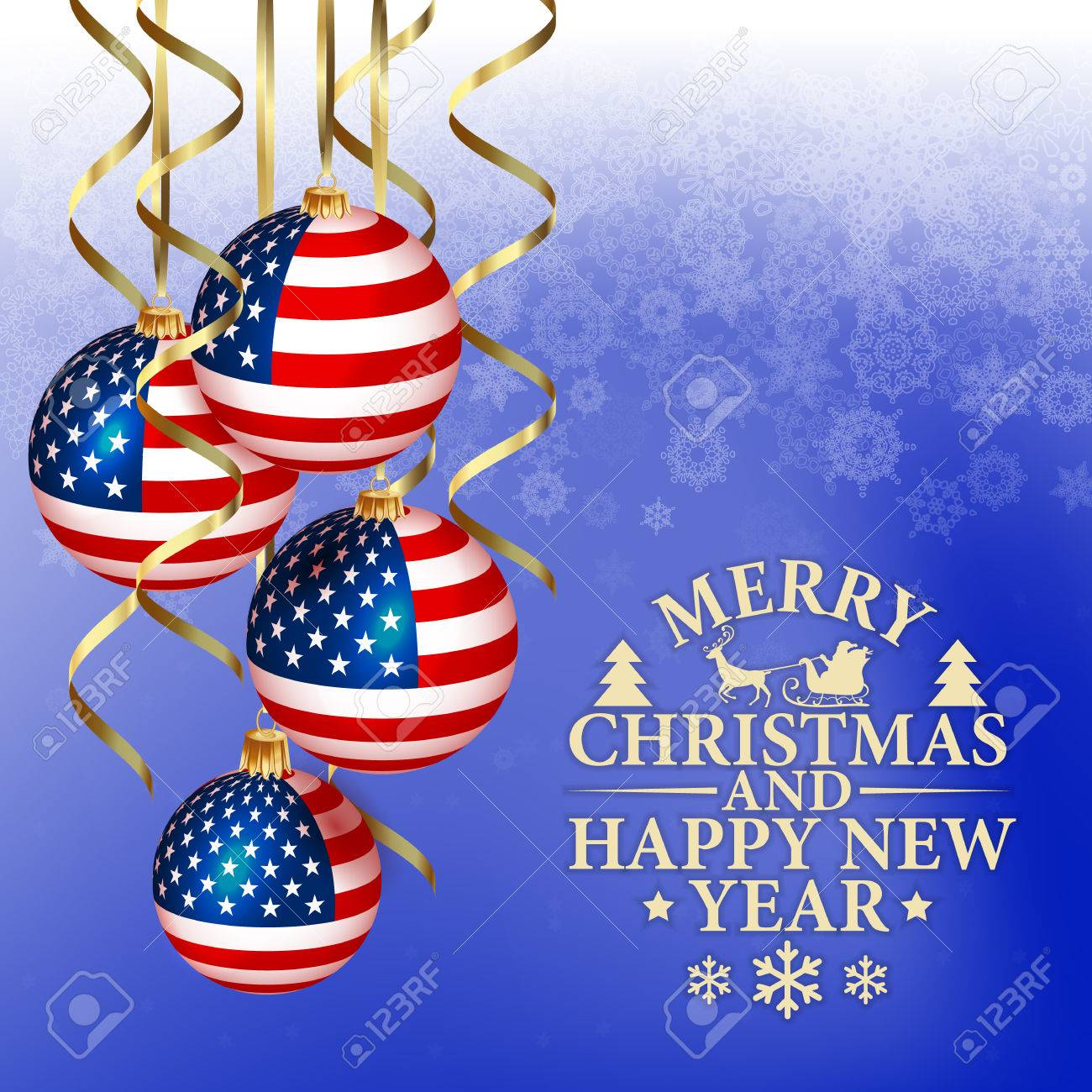 Patriotic Christmas.Vector Abstract Christmas Background With Patriotic Elements