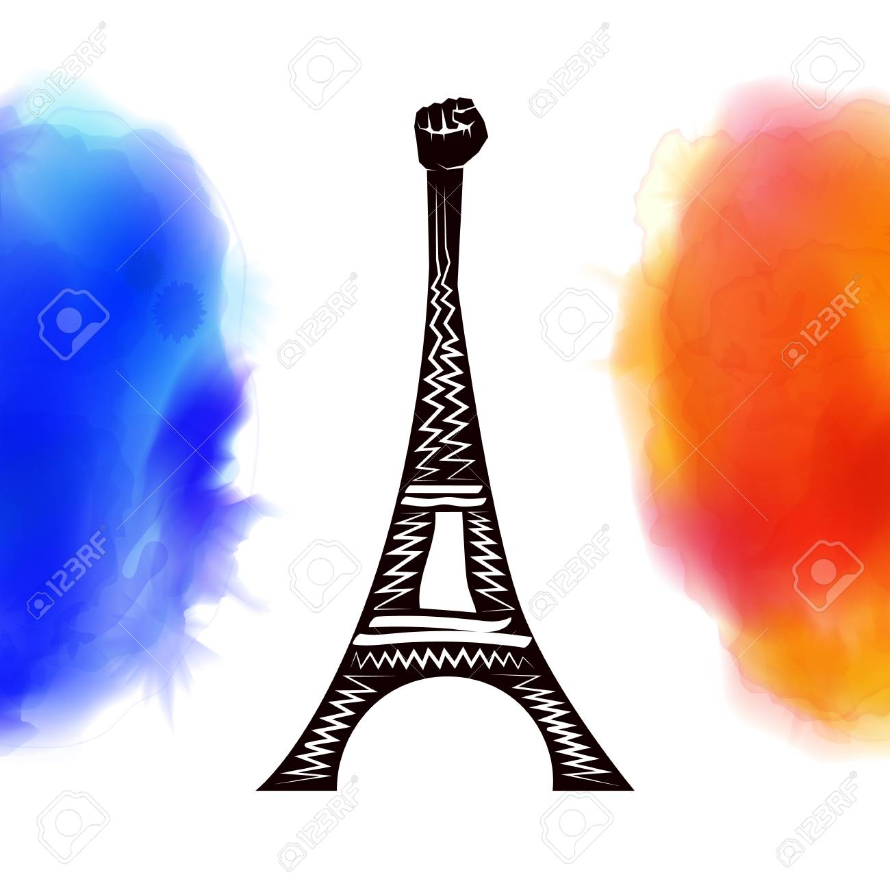 Pray For Paris France Peace Eiffel Tower On Background Colored Flag