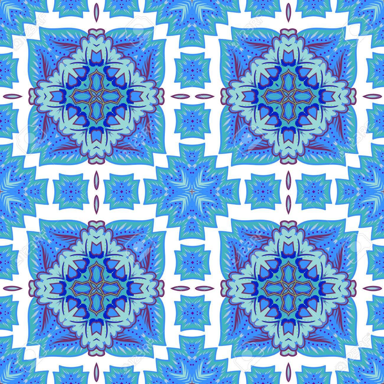 モロッコのタイル 装飾品からシームレスなパッチワークのパターン 壁紙パターンの塗りつぶし テクスチャ 繊維 カバー等に使用できます のイラスト素材 ベクタ Image