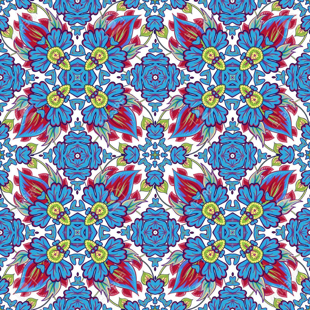 Vector Mosaic Background, Ceramic Tiles Majolica Seamless Pattern ...
