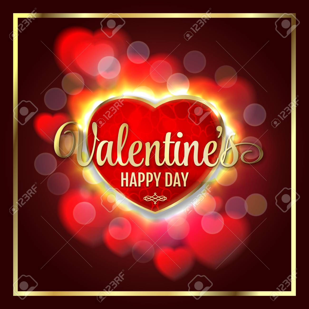 Valentines Day Background With Bright Lights Hearts Royalty Free