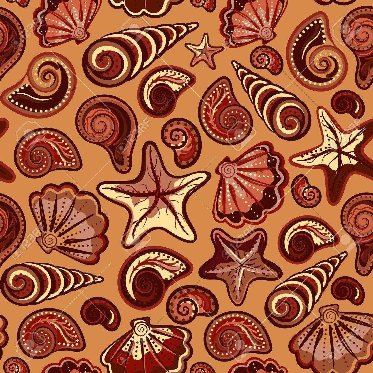 貝殻とヒトデ カラフルでチョコレートの白のシームレスなパターン