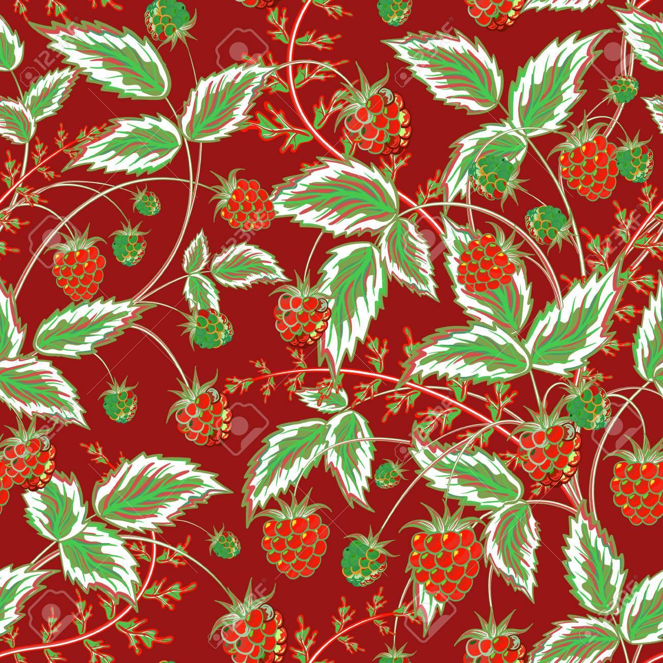 Framboises Seamless Pattern Colore Seamless Avec La Main De Couleur