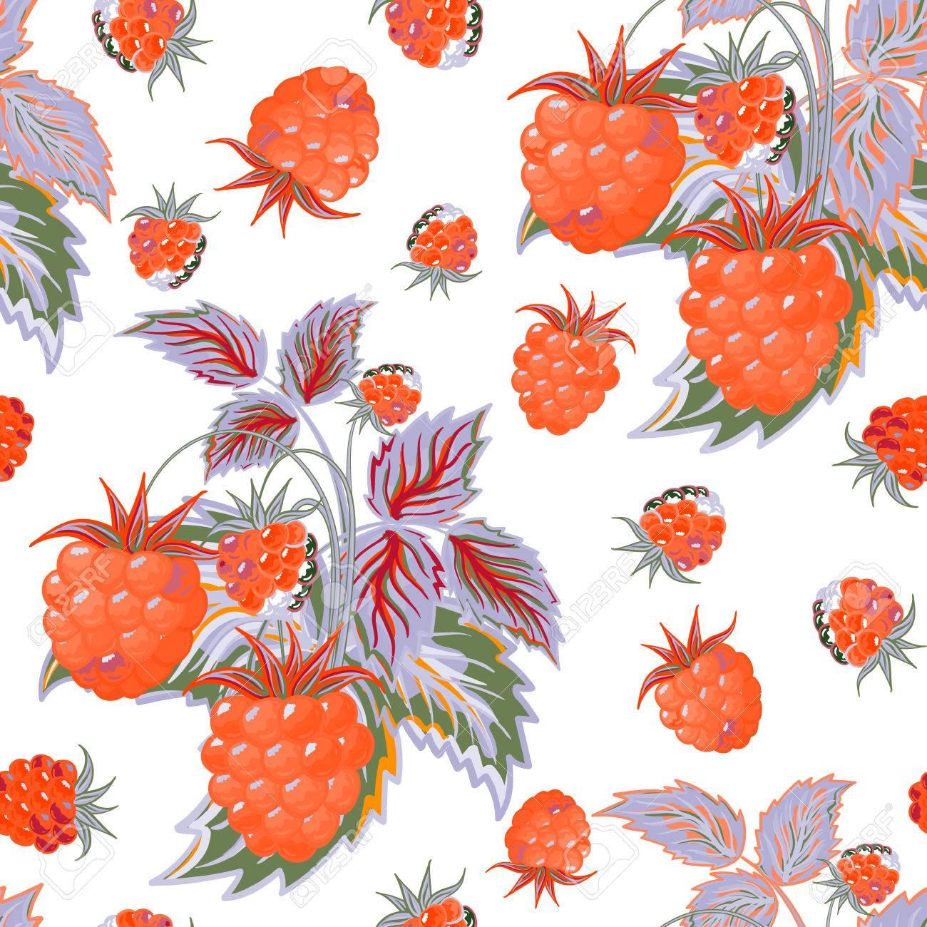 Seamless Pattern With Orange Raspberries In Cartoon Style Hand