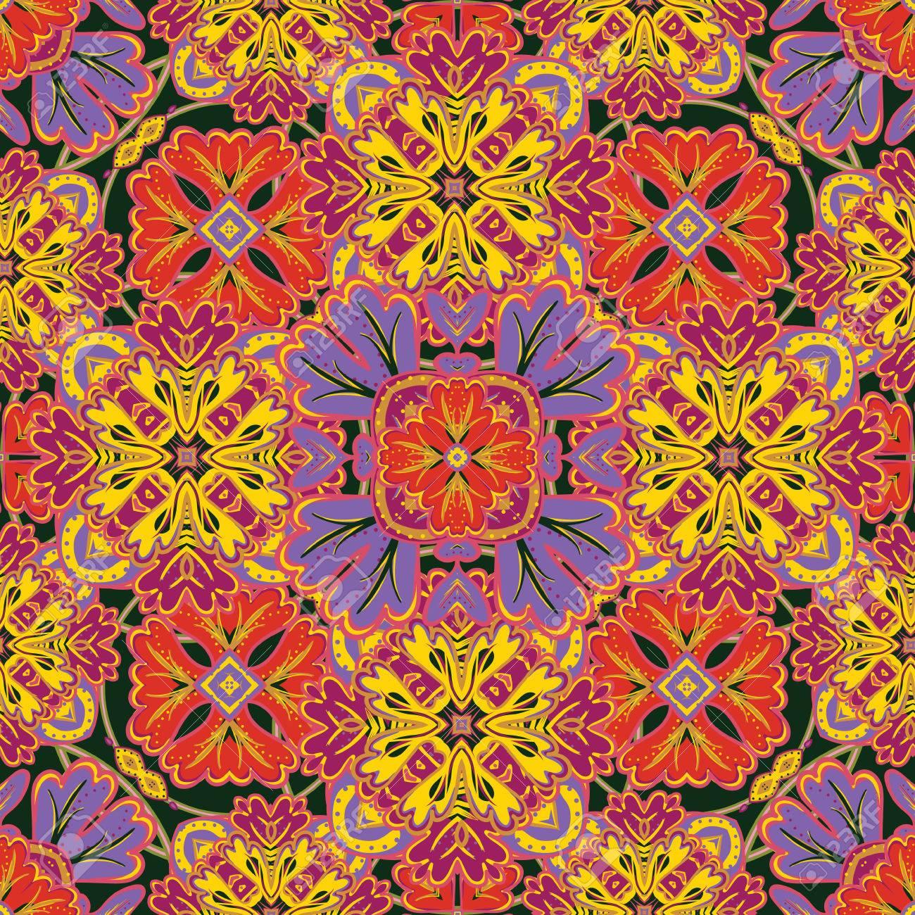 Carta Da Parati Texture Colorata.Vettoriale Seamless Da Colorate Piastrelle Marocchine Ornamenti