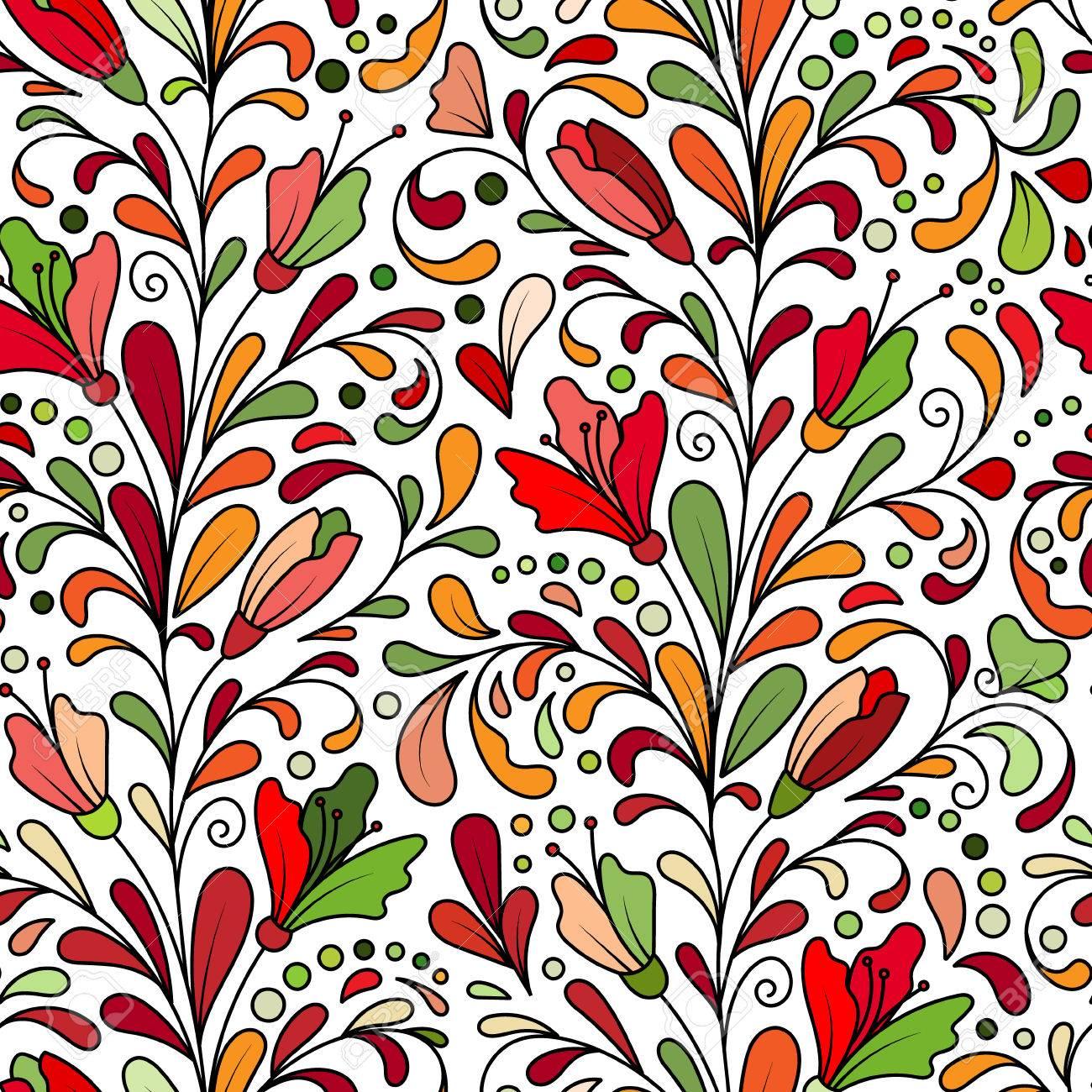 Aufwändige Blumen Nahtlose Textur Hand Zeichnen Endlose Muster Mit