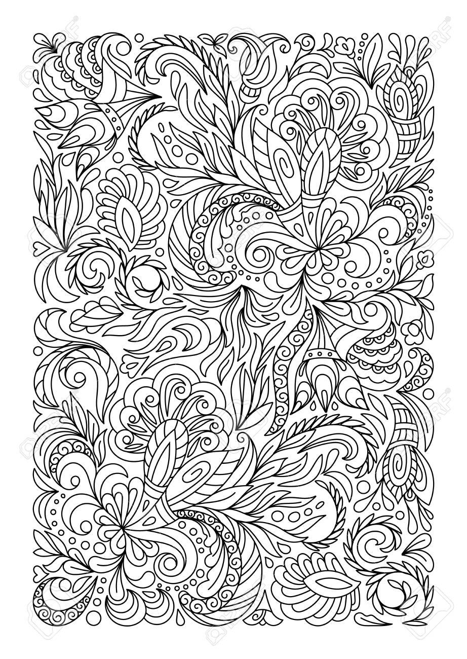 Malvorlage Mit Vintage Blüten Muster Lizenzfrei Nutzbare