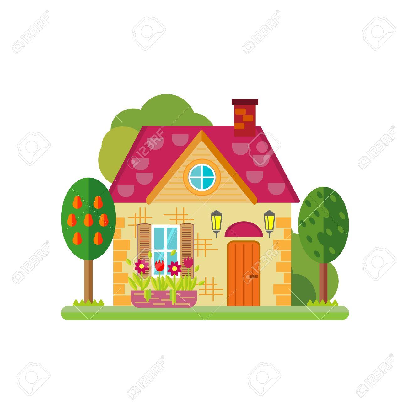 かわいいカラフルな家のベクター イラストですベクトルの建物図