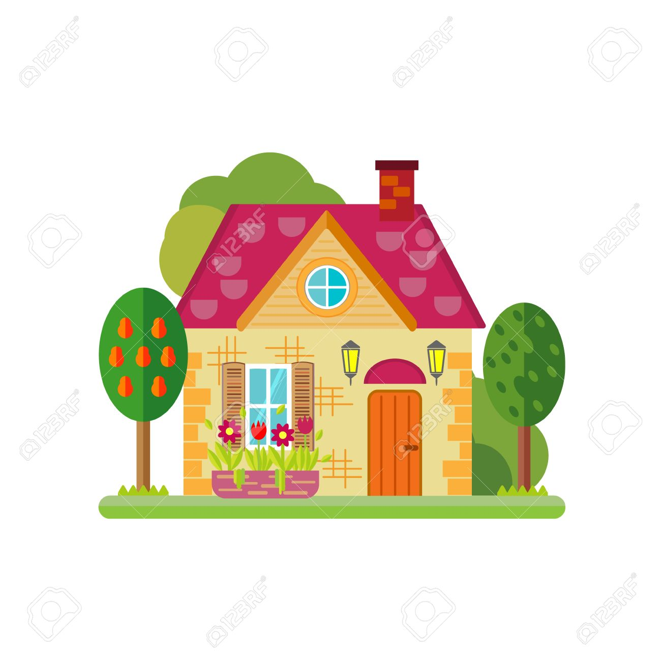 vector illustration of cute colorful house vector flat buildings rh 123rf com house vector silhouette house vector silhouette