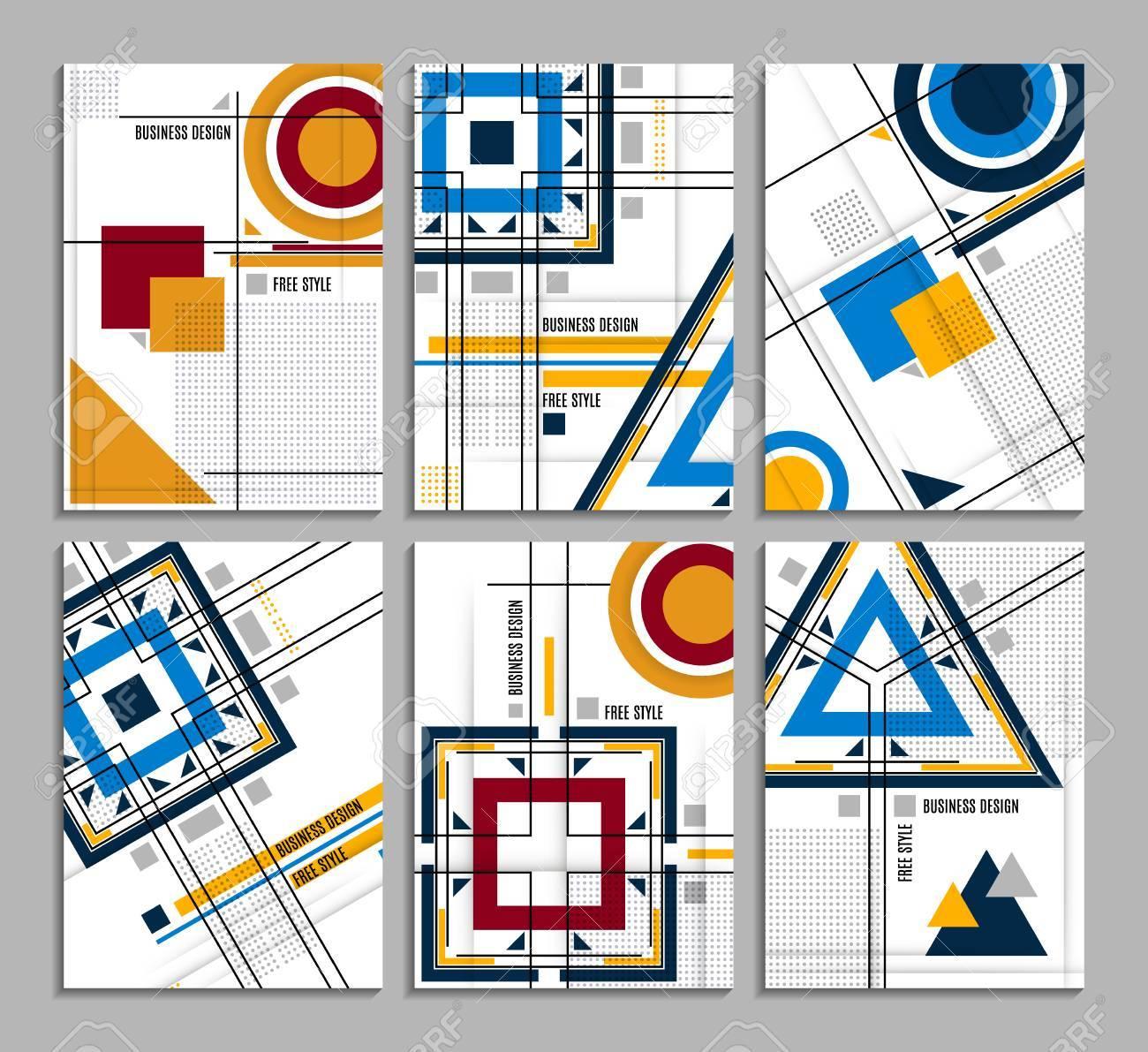 Set Von Visitenkarte. Abstrakte Geometrische Design, Broschüre ...