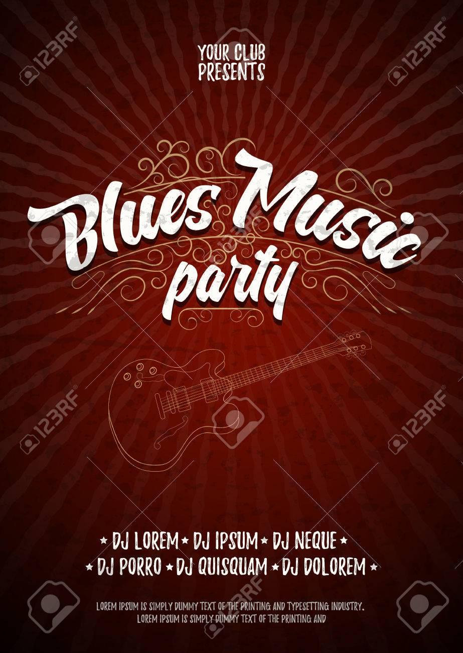 Fiesta De La Música Blues. Cartel De Fondo De La Plantilla Del ...