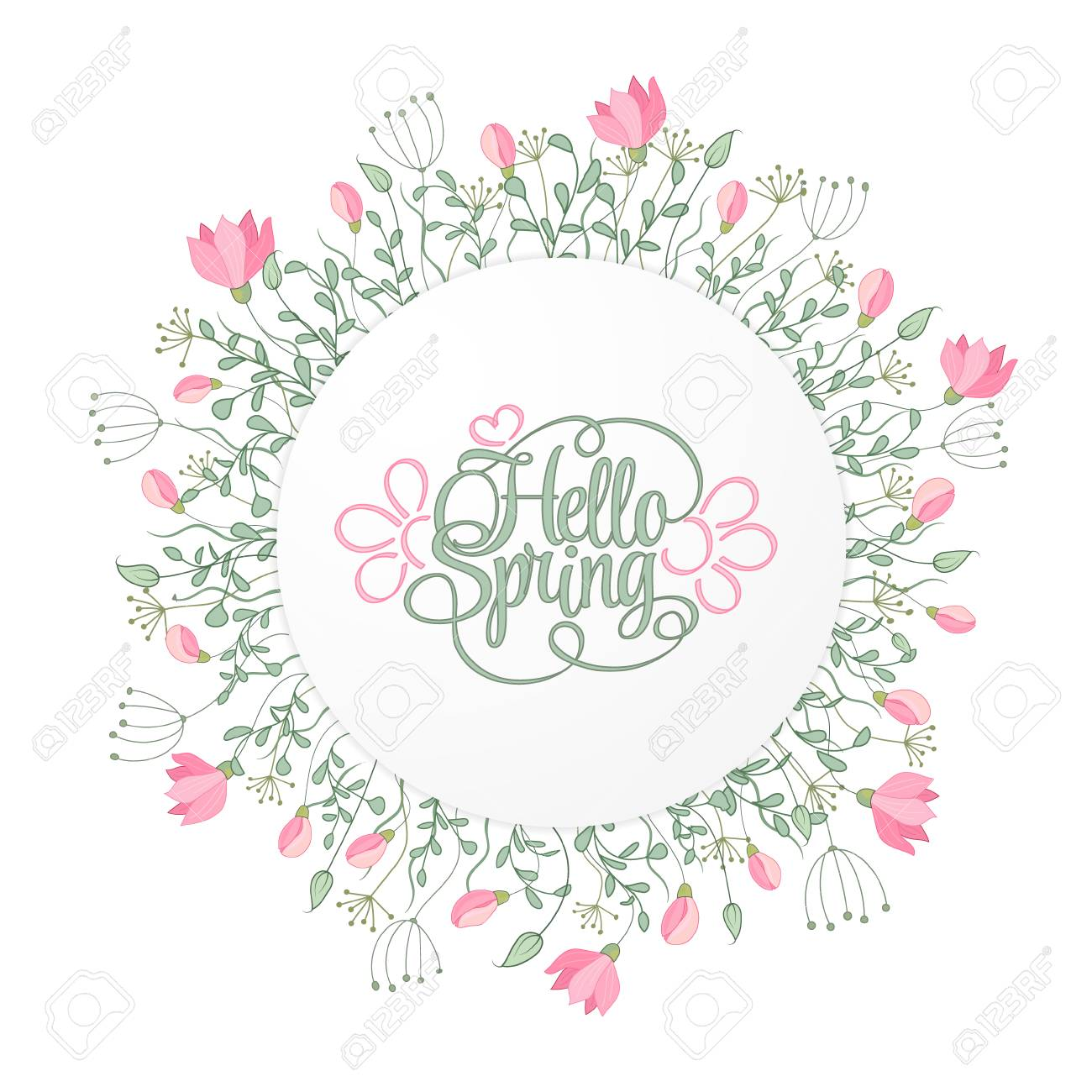 Spring Hand Draw Round Frame With Gentle Pink Flowers Leaves