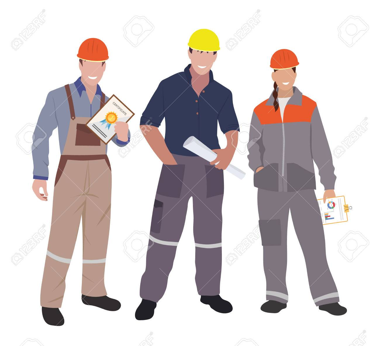 civil engineer, architect and construction workers characters